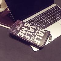 钱夹 时尚男女个性钱包 街头潮流个性中长款钱包 休闲撞色手机包 黑色字母 预定3月中旬发货