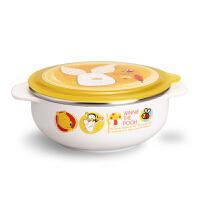 韩国爱婴小铺迪士尼妙趣维尼可分离不锈钢双耳碗宝宝防摔碗 300ml
