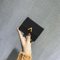小钱包女短款韩版潮折叠个性学生可爱迷你小巧大气零钱包 黑色 赠送运费险