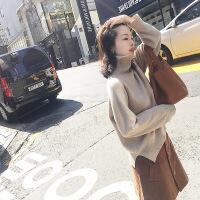№【2019新款】美女穿的韩国女复古优雅简约高领羊毛套头针织打底衫宽松开叉纯色气质毛衣