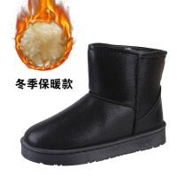 雪地靴女冬季新款韩版百搭一脚蹬平底防水皮面学生短靴孕妇靴