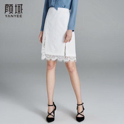 颜域女装新款2018夏装白色双层蕾丝花边拼接半身裙优雅A字短裙女