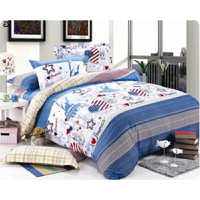 床上用品床单被套二件套非棉双人1.5m1.8m被罩被单两件套 乳白色 自由女神  规格有歧义的商品,请联系客服咨询,以客服介绍为准!多拍错拍不发货