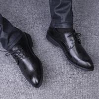 皮鞋男韩版青年百搭秋季潮流男士休闲鞋英伦商务正装内增高小男鞋 黑色 普通款收藏送袜子