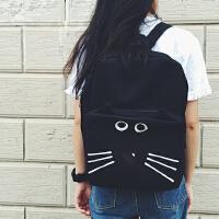韩国韩版卡通软妹猫咪皇冠书包 可爱黑色双肩包 学生背包