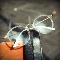 韩版文艺男轻眼镜框复古圆形透明白色可爱镜架学生女潮眼镜1