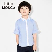littlemoco男童纯色百搭帅气纯棉休闲衬衫KA172SHT101 moco