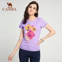 camel骆驼&8264登山队系列 户外女士时尚夏圆领短袖棉T恤