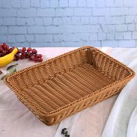 编织篮超市陈列水果篮子藤编面包篮塑料收纳筐零食展示篮新品家居