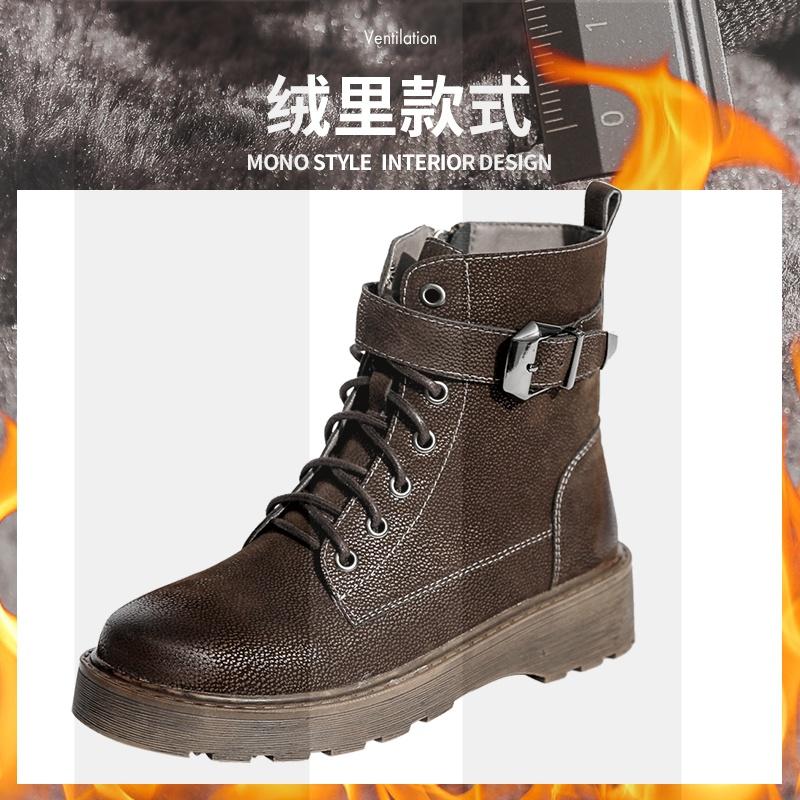 靴子女2018新款秋冬季雪地靴马丁靴女英伦风加绒粗跟鞋子女冬短靴SN8020 深棕色加绒 标准码