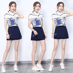 矮个子套装女夏季新款气质印花衬衫刺绣阔腿短裤时尚套装两件套潮