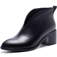 冬季鞋子2018新款短靴女粗跟真皮高跟英伦女靴冬秋单靴子尖头裸靴 黑色
