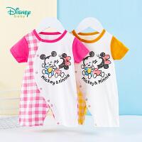 迪士尼Disney童装 宝宝纯棉连体衣侧开护肚爬服夏季新品男女孩萌趣哈衣婴幼儿衣服