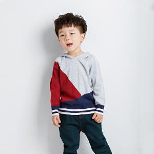 童装男童2018秋冬装新款套头卫衣中小童帽衫儿童撞色连帽针织卫衣