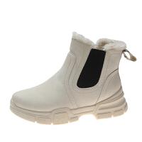 小短靴女秋冬季2018新款平底网红切尔西棉靴马丁靴短筒雪地靴