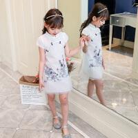 女童唐装裙夏季儿童连衣裙中大童旗袍公主裙女孩洋气纱裙