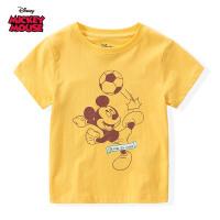 【99元3件专区】迪士尼米奇米妮系列童装男童夏装2020春夏新品短袖印花T恤黄色