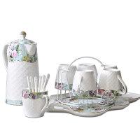 【支持礼品卡】家用冷水壶水具耐热茶具杯子结婚陶瓷杯具欧式客厅水杯套装 *jk2