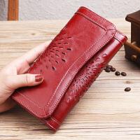 女士钱包长款真皮搭扣复古牛皮多功能大容量钱夹皮夹子手拿包韩版