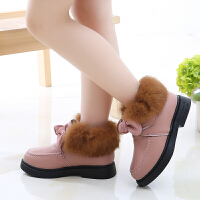 女童皮毛加绒加厚韩版蝴蝶结短靴毛毛鞋儿童保暖冬季棉鞋雪地靴