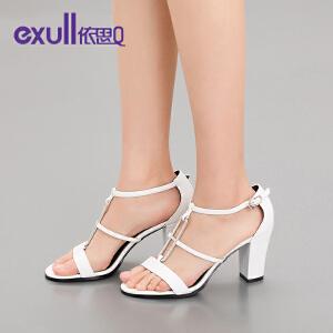 依思q夏新款凉鞋女时尚搭扣高跟粗跟水钻舒适女鞋子