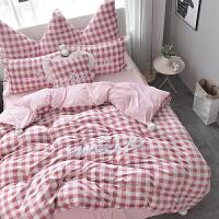 四件套冬季珊瑚绒公主风水晶绒床裙加厚法兰绒床单床上法莱绒格子 暗粉格子 床裙式
