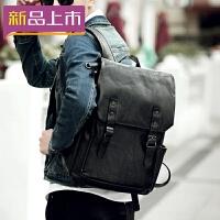2018新款韩版高中生书包男时尚潮流运动皮包双肩包青少年背包女旅行包 休闲黑色+质量三包+30天退换