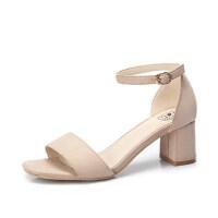 骆驼女鞋 夏季新款网红凉鞋 一字扣带女士凉鞋粗高跟chic鞋子