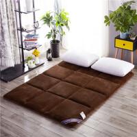地铺睡垫1.2折叠防潮加厚榻榻米床垫 1.5M床地垫 暖棉绒-深咖 1.8*2米