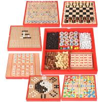 儿童木制多功能六合一游戏棋盘桌面游戏玩具象棋飞行棋围棋 六合一中国象棋