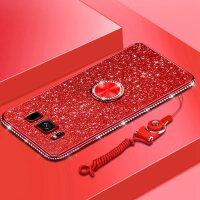三星s8手机壳5.8寸SM-G9500镶钻软壳galaxys8支架潮女s8挂绳外套