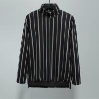 新年优惠【NEW】原创潮牌装 欧美街头英伦休闲撞色条纹高领翻领暗黑卫衣打底衫