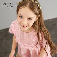 【1件2折到手价:69.8】米喜迪mecity童装夏装新款女童前胸花边拼接梭织连衣裙