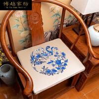 新中式家具实木椅子红木沙发坐垫太师椅垫圈椅座垫餐椅垫防滑定做