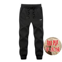 冬季男士运动裤加绒加厚保暖羊羔绒卫裤纯棉大码休闲长裤小脚裤子 3X