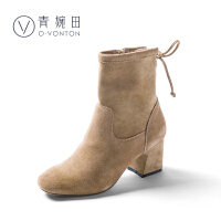 青婉田2018牛皮高跟短靴女春冬新款时装靴女韩版弹力靴粗跟加绒