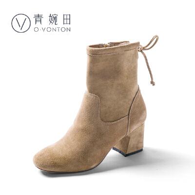 青婉田2018牛皮高跟短靴女春冬新款时装靴女韩版弹力靴粗跟加绒尺码正常,脚感舒适,内里加绒
