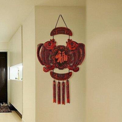 福临门壁饰客厅中式创意墙面装饰品木质立体挂饰玄关墙饰墙壁挂件  实木手工雕刻 传统工艺制作 品质保证