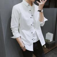 №【2019新款】冬天年轻人穿的白色衬衫男士长袖韩版修身衬衣商务休闲衣服寸衫潮流
