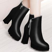 №【2019新款】冬天美女穿的女鞋加绒短靴女粗跟女士靴子百搭黑色高跟女靴
