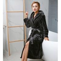 情侣法兰绒连帽睡袍女冬季两件套装加厚加长款珊瑚绒睡衣男士浴袍
