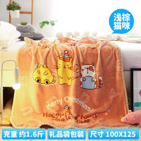 儿童毛毯冬季双层加厚婴儿云毯子新生儿小被子宝宝珊瑚绒午睡盖毯 双层加厚 浅棕猫咪100X125