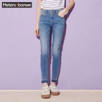 【618狂欢购,领券满500减300】美特斯邦威官方旗舰店牛仔裤女装 夏季新款紧身裤子246881