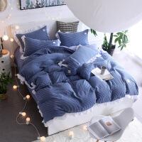 裸睡水洗棉四件套床单被套1.8m床上用品单人床学生被子宿舍三件套
