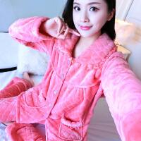 秋冬季大码妈妈款珊瑚绒睡衣女套装家居服加绒保暖法兰绒长袖开衫