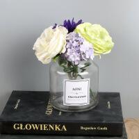 0509053048525 透明玻璃小花瓶 大开口矮款英文贴纸ins北欧风水培