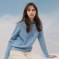 【1件3折到手价:209.7】羊毛MECITY冬季打底慵懒风宽松半高领套头加厚针织毛衣
