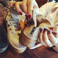 欧洲站秋季新款磨砂真皮马丁靴女士英伦风系带短靴学生平底女靴子