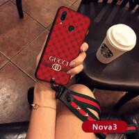 华为Nova3手机壳带挂绳挂脖nova3欧美潮壳保护壳女硅胶套防摔 Nova3 中国红【G款】