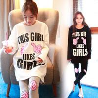 韩版睡衣女秋长袖家居服套装可爱闺蜜卡通大拇指两件套